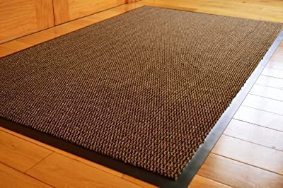 Big Extra Large Brown And Black Barrier Mat Rubber Edged Heavy Duty Non Slip Kitchen Entrance Hall Runner Rug Mats 120x180cm (6x4ft)