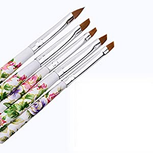 Generic High Quality Women' s Fashion 5pcs Nail Form UV Gel Acrylic Nail Art Brush Painting Pen Set Nail Design Manicure…