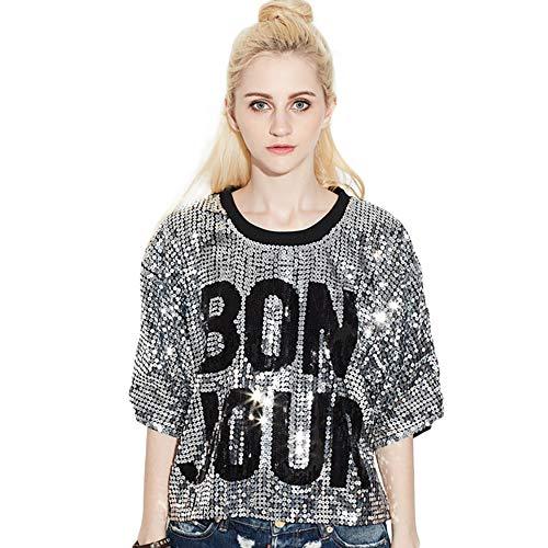 Bmeigo Damen Paillette T-Shirt 3/4 Ärmeloberteile Minikleid Lose Gedruckt Briefe Hiphop Tanzen Performance (Hip Hop Kostüm Für Frauen)