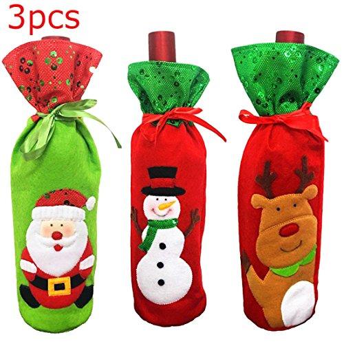 Flasche, Staubbeutel Weihnachten Geschirr Dekorationen, 1xsanta+1xsnowman+1xelk, Einheitsgröße (Weihnachten Dekorationen Verkauf)