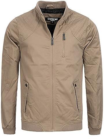 S!RPREME Herren Jacke Ambrose Übergangsjacke Sommerjacke Militär Used Look Vintage Style Softshell-Jacke 10051BS Beige