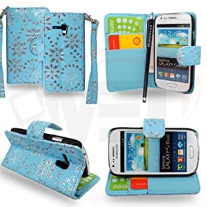 For Samsung Galaxy S3 Mini i8190 Light Sky Blue Diamond Book Type PU Leather Flip Case Cover+Stylus+Screen Guard