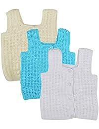 kuchipoo Unisex Regular Fit Hand Knitted Woollen Vest (Pack of 3)