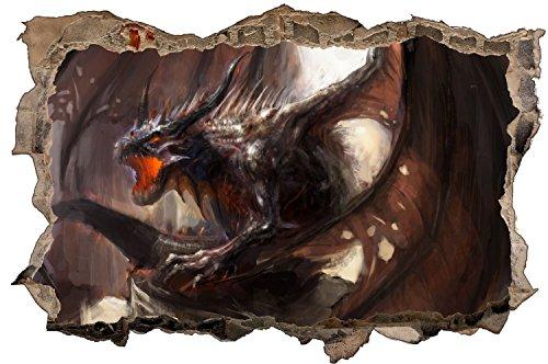 Drache Dragon Fantasy Feuer Wandtattoo Wandsticker Wandaufkleber D0889 Größe 40 cm x 60 cm (Vinyl-keller-fenster)
