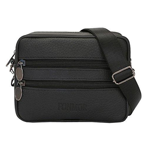 ♬LILICAT Vintage hommes cuir pur couleur commerce sacs à bandoulière sac à bandoulière sac de taille