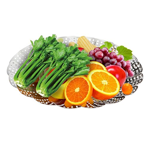 Pixnor Vástagos de acero inoxidable plegable vapor verduras para comer sano verduras / pescados / arroz en cocina