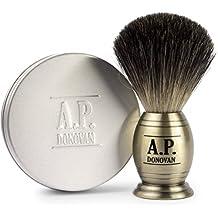 A.P. Donovan - Tejón puro pelo de tejón Brocha de afeitar - Barberia afeitar Set con 100 g de afeitar de verduras - mirada de latón