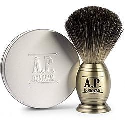 A.P. Donovan - Reindachs Rasierpinsel Dachshaar - Barber-Shop Rasier-Set mit 100g pflanzlicher Rasierseife - Messing Look