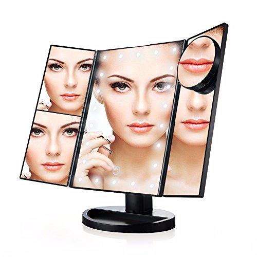 Lnxd Écran tactile pliage trois Miroir de vanité professionnelle 21 lumières DEL Santé Beauté avec petit miroir grossissant 10X Noir ,