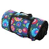 4L Textil Picknickdecke Decke Campingdecke Stranddecke Reisedecke Matte Baumwolle (Blumen auf dunkelblau)
