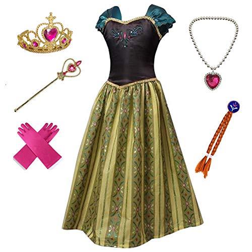 Anbelarui Prinzessin Kleid Mädchen Langes Festliches Karneval Kinder Glanz Kleider Weihnachten Verkleidung Karneval Partei Kostüm Outfit Halloween Fest (100 (Körpergröße 100cm, 08 Kleid&Zubehör)