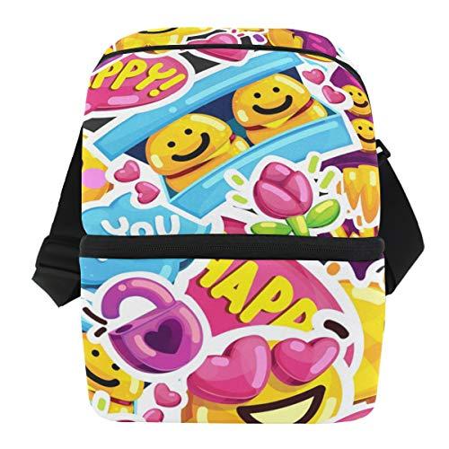 QMIN Business Lunchtasche Star Emoji Smiley Print Lunchbox mit Reißverschluss, isoliert, wiederverwendbar, Thermo-Tragetasche mit Schultergurt für Mädchen Jungen Damen Herren
