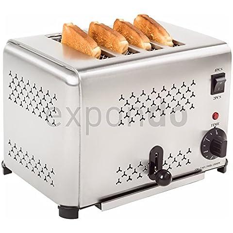 Royal Catering - RCET-4 - Tostador industrial para 4 Rebanadas - 1.800 watt - Envío Gratuito