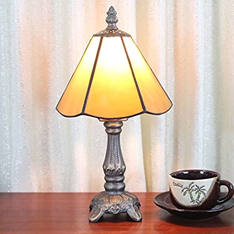 6 inch Yellow Simple Style Pastoral Minimalist Tiffany Style Table Lamp Bedside Lamp Desk Lamp Living room Bar