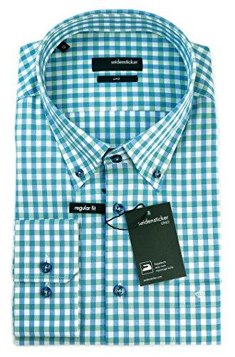 Seidensticker Herren Langarm Hemd UNO Regular Fit Button-Down-Kragen BD mehrfarbig kariert 131452.75 Grün