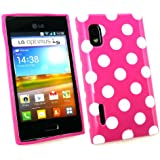 Emartbuy ® Lg Optimus L5 E610 Polka Dots Gel Skin Cover / Case Hot Pink / weiß