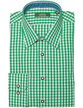 arido Trachtenhemd Herren langarm 2711-1001 14 grün kariert