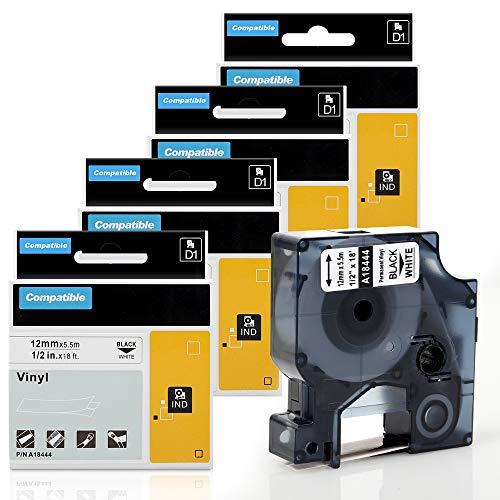 color negro y blanco Etiquetas adhesivas de vinilo 12 mm, compatibles con Rhino 1000 3000 4200 5000 5200 6000, 4 unidades Dymo 18444 Rhino