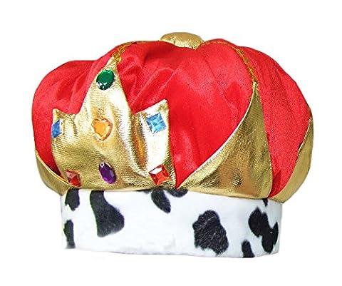 Krone zum König Kostüm für Erwachsene - Stroffkrone zum Königin oder König Faschingskostüm zu Karneval, Geburtstag oder Junggesellenabschied