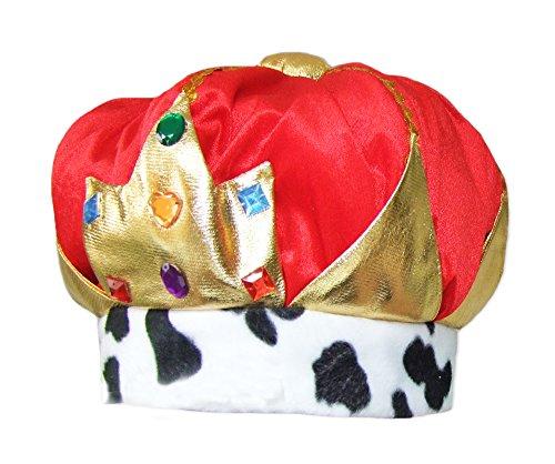 Kostüm Königin Karneval Und König - Krone zum König Kostüm für Erwachsene - Stroffkrone zum Königin oder König Faschingskostüm zu Karneval, Geburtstag oder Junggesellenabschied
