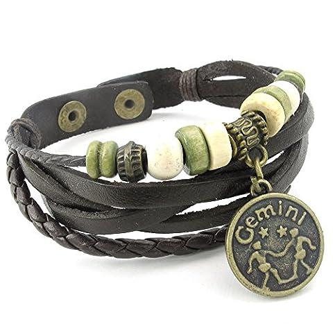 Konov Jewellery Mens Womens Leather Bracelet, Gemini, Handmade Constellation Zodiac Sign Logo Charms, Beads, Button, Adjustable Size Bangle, Black (with Gift Bag)
