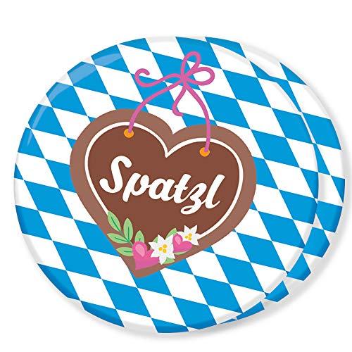 Polarkind gr. 2er Set Button Oktoberfest 2018 Anstecker mit Spatzl Spruch 59mm Handmade Pin Deko Schmuck Wiesn Accessoire