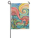 Dozili-Flagge, Ölgemälde, Flamingo-Motiv, Dekoration für Zuhause, Garten, wetterfest und doppelseitig, Polyester, bunt, 12.5