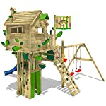 WICKEY Treehouse Smart Treetop Climbing Tower Playhouse with Slide, Double Swing and Many Climbing Possibilities