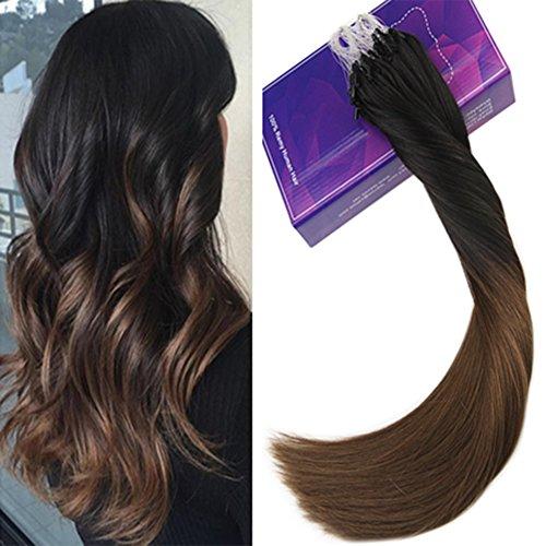 Laavoo 16pollici/40cm ombre brazilian hair extension microring capelli veri remy fusion naturali nero a marrone medio 50gr weight