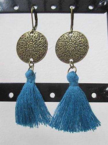 Ohrringe Bronze U rund Pompon türkis (Bronze-türkis-ohrringe)