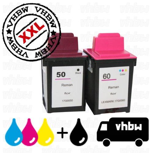 vhbw 2x Druckerpatronen Tintenpatronen Set für Drucker Compaq IJ600, Lexmark P3120, P3150, P706, P707, Z12, Z22, Z32, Z705, Z715 wie Lexmark 50, 60. (17g0050 Tinte Schwarz)