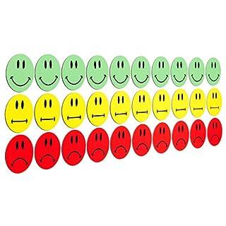 30 bunte Smiley Magnete (10 gruene lachende Smileys / 10 gelbe neutrale Smileys / 10 rote traurige Smileys) / Durchmesser 3cm / z.B. fuer Praesentationen, Schulungen, Projektarbeit, Unterricht.