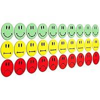 30Multicolor Smiley Imanes (10verdes Smileys sonriendo/10amarillas Neutral Smileys/10rojos Terrible Smileys)/2cm de diámetro/por ejemplo para presentaciones, Formación, proyecto trabajo, clases..