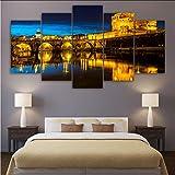 ljtao Moderno Lienzo De Pared HD Pintura Impresa Vista Nocturna De Roma Paisaje Hogar Arte Decorativo Cuadros Pintura Sobre Lienzo Impresiones Modular-40Cmx60/80/100Cm-Frame
