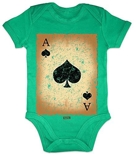 HARIZ Baby Body Kurzarm Spielkarte Pik Ass Karneval Verkleidung Plus Geschenkkarte Frosch Quietsch Grün 3-6 Monate