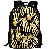 best& Halloween Golden Hands Bones Canvas Laptop Backpack Cute School College Shoulder Bag for Women Men