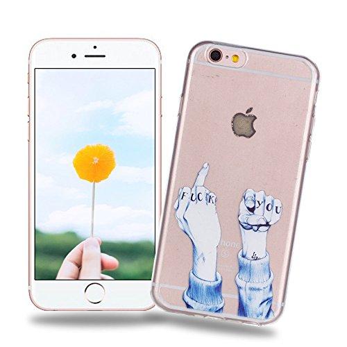 Hülle zum iPhone 6/6S, Silingsan Handyhülle Bumper Back Case Cover Silikon Case Luxus Protection Kristall Case Ultradünnen Flexibel Weich Schutzhülle Kratzfeste Stoßfeste Tasche - Finger