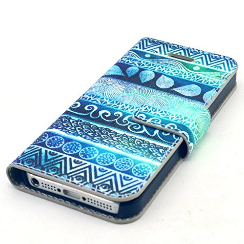 Più colorate Ancerson in pelle PU Flip Custodia per cellulare per Apple iPhone 5/5S/5G in pittura ad olio Stil Colorful Painting Custodia Flip Case Custodia in similpelle custodia per cellulare con fu Seeblau