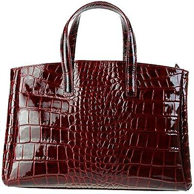 Olivia - Sac à Main Femme Cuir, Sac en cuir façon CROCO N°JK719 - Porte Main, Epaule 38X25X16 cm