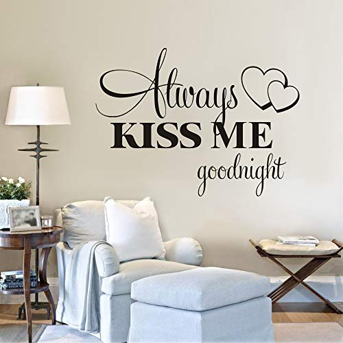 WWYJN Classic Love Quotes Wall Stickers Always Kiss Me Goodnight Wallpaper Sweet Kids Room Wall Poster Home Bedroom Decoration40x52cm