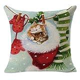 Weihnachten Katze Kissen Fall 45cm * 45cm, yoyoug 2018Weihnachten Leinen Quadratisch Überwurf Flachs Kissen Fall dekorative Kissenbezug Super Weich und Bequem, a, Einheitsgröße