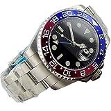 Orologio da polso Bliger GMT con vetro zaffiro nero Rosso / blu lunetta in ceramica Movimento automatico Luci in acciaio inox