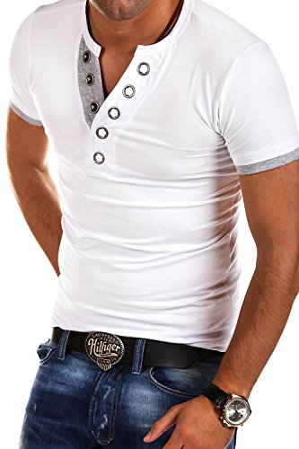 MT Styles V-Neck T-Shirt Buttons BS-524 [Weiß, L]