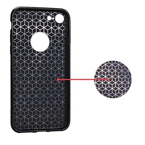 "MOONCASE iPhone 7 Coque, Fibres de Carbone Housse Resilient TPU Etui Antichoc Protection Armure Case pour iPhone 7 (4.7"") Argent Rose Or"