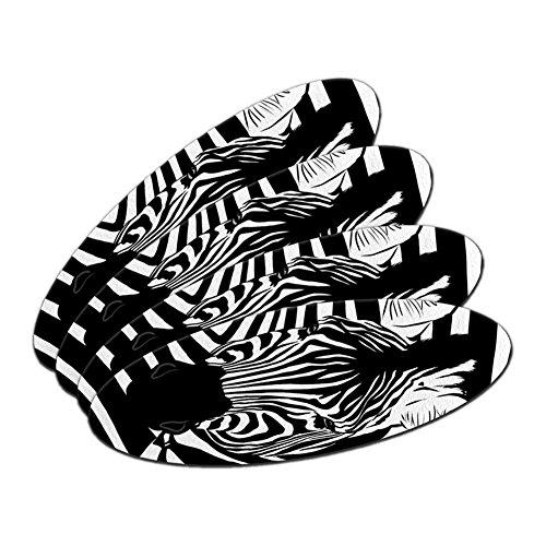 Zebra Safari schwarz weiß Animal Print Oval Nagelfeile Emery Board 4Stück (Nagelfeile Safari)