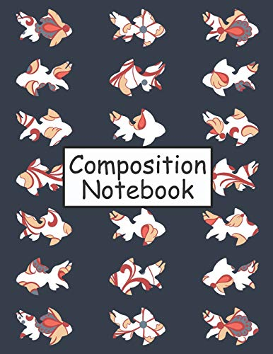 Composition Notebook: A Blue Blank Lined College Ruled Goldfish Notebook For School, Students, Teachers, Work, Home, Etc. (Diary Journal) -