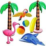 aovowog 8 PCD Inflables Palmeras Flamingo Juguetes Inflables Banana Bolas de Playa Volando Loro Delfín para la Decoración del Partido Playa