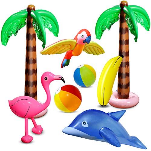 aovowog 8 PCD Inflables Palmeras Flamingo Juguetes Inflables Banana Bolas de Playa...