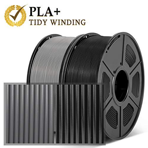 Filamento PLA Plus 1.75 mm, 2 kg, bobinado ordenado actualizado, sin enredos,PLA+ Negro Gris
