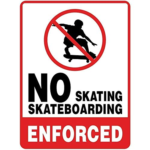 Tin Sign Fashion No Skating Skateboarding Enforced Room Metal Aluminum Sign Wall Plaque for Indoor Outdoor 7.8x11.8 Inch